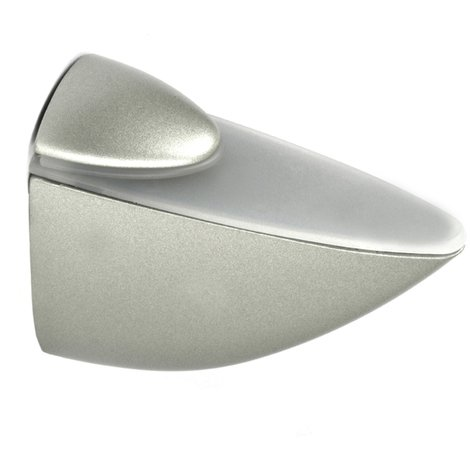 Soporte pelícano regulable para baldas de cristal y madera PELICANO XL: con estilo decorativo, fabricado en zamak y acabado en níquel mate líquido.