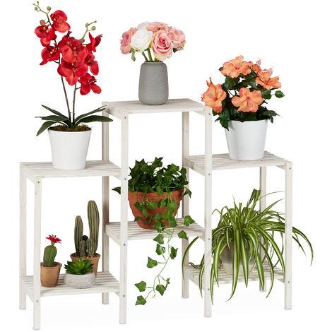 Soporte Plantas Decorativo, Estantería Flores de Interior, Expositor, Madera, 70 x 89 x 26,5 cm, Blanco