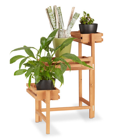 Soporte Plantas Escalera 3 Niveles, Madera, Beige, 57 x 78 x 56 cm