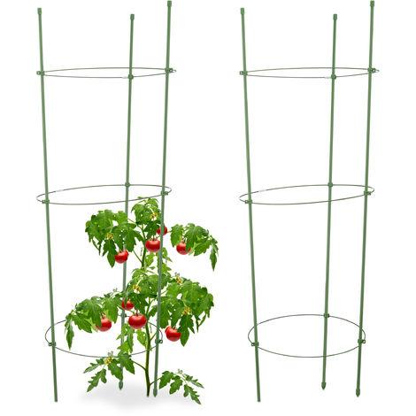 Soporte Plantas Trepadoras, Pack de 2, Ajustables, Tutores Tomateras, Obelisco Huerto, Plástico, 76 cm, Verde