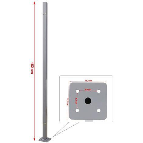 Soporte portador para carcasa del toldo lateral 11,5 x 11,5 x 152 cm Gris GSA002