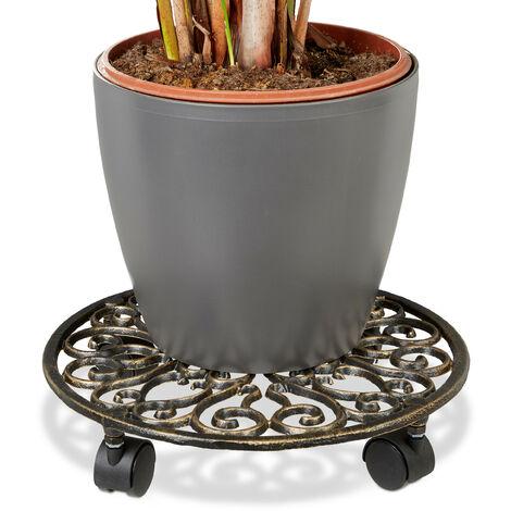 – Soporte redondo con ruedas para plantas hecho de hierro fundido resistente a la intemperie con medidas 7,5 x 33,5 x 33,5 cm y peso 1,9 Kg, color bronce