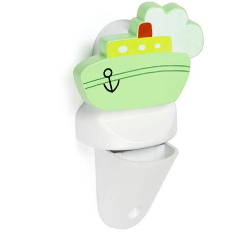 Soporte regulable para baldas de cristal y madera con estilo infantil, fabricado en plástico y acabado en blanco con forma de barco
