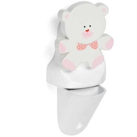 Soporte regulable para baldas de cristal y madera con estilo infantil, fabricado en plástico y acabado en blanco con forma de oso.