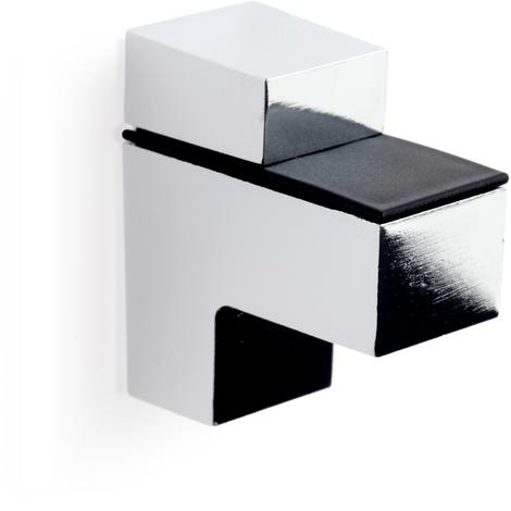 Soporte regulable para baldas de cristal y madera QUATRO M: con estilo decorativo, fabricado en zamak y acabado en cromo brillo.