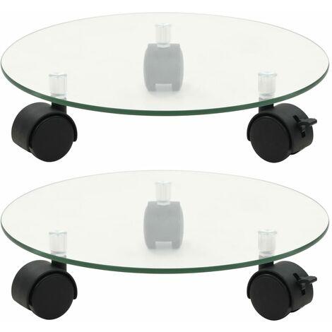 Soporte ruedas para macetas redondo vidrio templado 28cm 2 uds