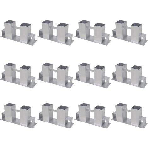 Soportes para apilar leña 12 unidades acero plateado