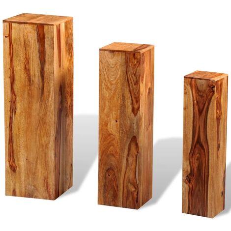 Soportes para plantas 3 uds madera maciza de sheesham marrón
