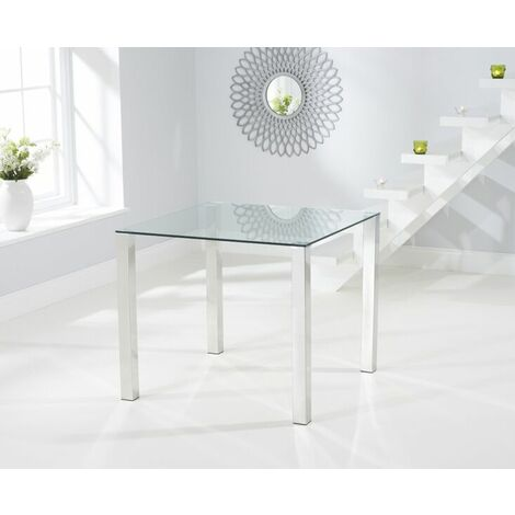 Sorel Small Clear Glass Square Modern Kitchen Dining Table