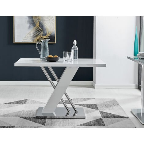 Sorrento 4 White High Gloss And Stainless Steel Dining Table