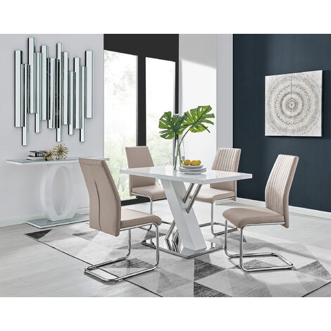Sorrento 4 White High Gloss And Stainless Steel Dining Table And 4 Lorenzo Chairs Set