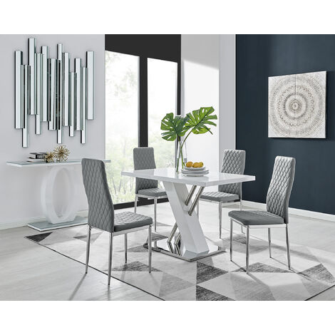Sorrento 4 White High Gloss And Stainless Steel Dining Table And 4 Milan Chairs Set