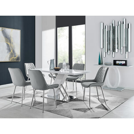 """main image of """"Sorrento 6 White Dining Table and 6 Pesaro Silver Leg Chairs"""""""