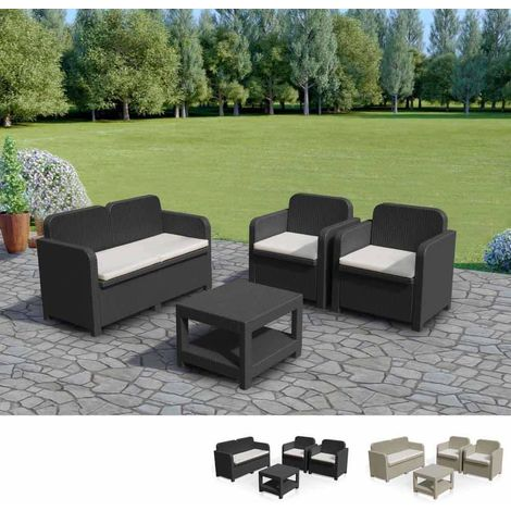 SORRENTO Garden Lounge Set Outdoor Rattan with Table by Grand Soleil