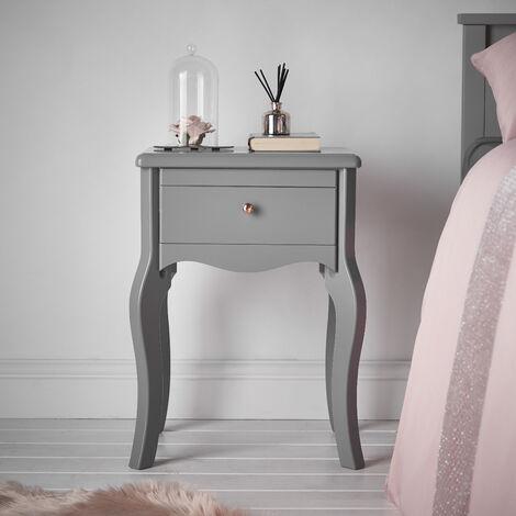 Sorrento Grey Bedside Table with Drawer Rose Gold Knob Vintage Design For Bedroom Home D'cor