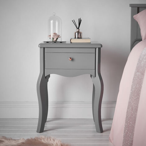 Sorrento Grey Bedside Table with Drawer Rose Gold Knob Vintage Design For Bedroom Home D?or