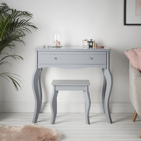 Sorrento - Grey Dressing Table With Drawer Rose Gold Handle Vintage Design and Stool Set