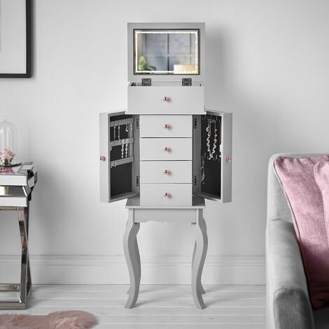 Sorrento - Grey Jewellery Armoire Chest Box Flip Top LED Lights Mirror Drawers Makeup Organiser Cabinet