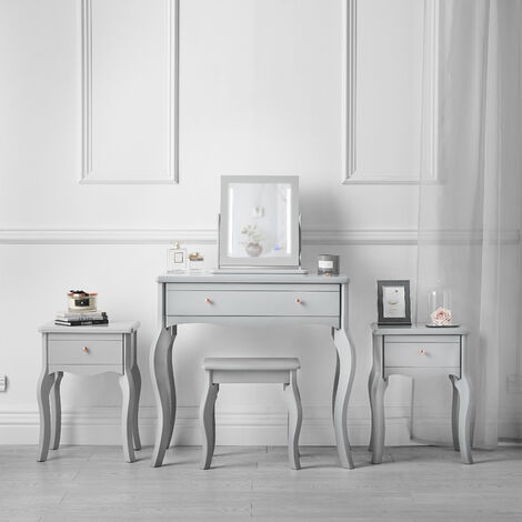 Sorrento Grey Vintage Set Dressing Table with Drawer LED Jewellery Cabinet Mirror Stool Two Bedsides