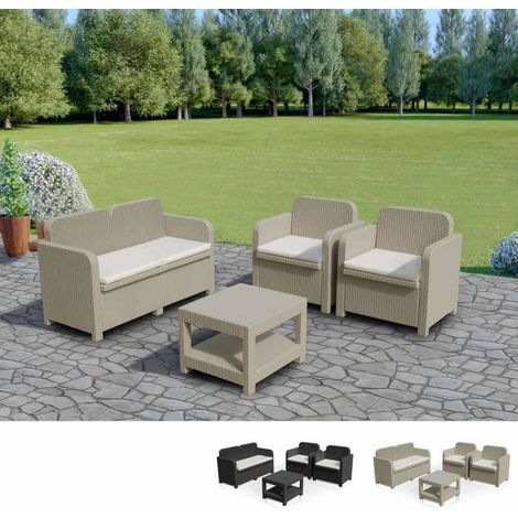 SORRENTO Garden Lounge Set Outdoor Rattan with Table by Grand Soleil   Cream