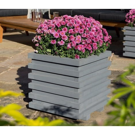 Sorrento Slatted Wooden Square Planter
