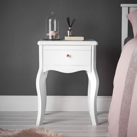 Sorrento White Bedside Table with Drawer Rose Gold Knob Vintage Design For Bedroom Home Décor