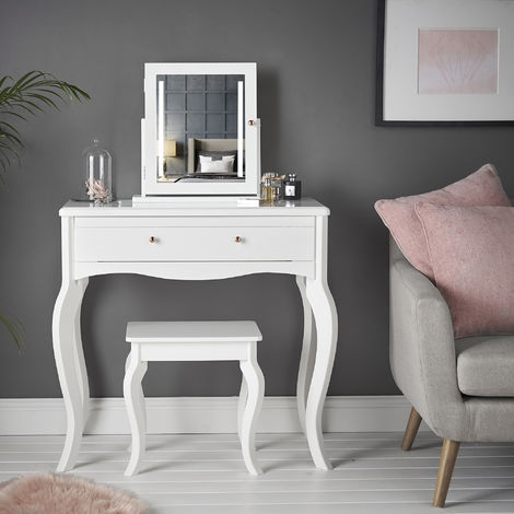 Sorrento - White Dressing Table With Drawer Rose Gold Handle Stool and Mirrored Jewellery Cabinet with LED Lights Three Piece Set