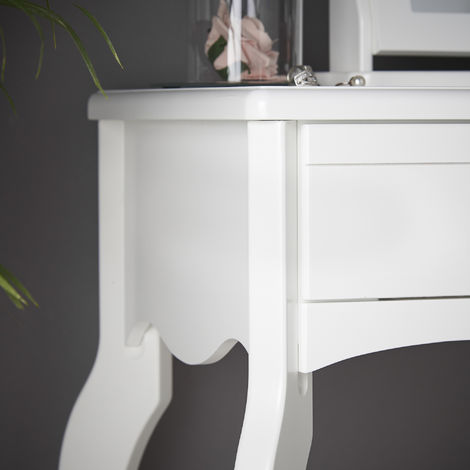 Sorrento - White Dressing Table With Drawer Rose Gold Handle Vintage Design and Stool Set