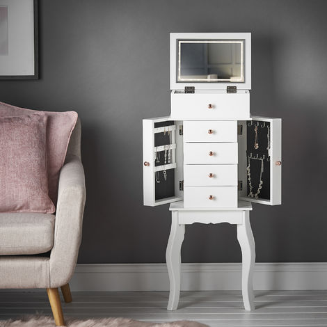 Sorrento - White Jewellery Armoire Chest Box Flip Top LED Lights Mirror Drawers Makeup Organiser Cabinet