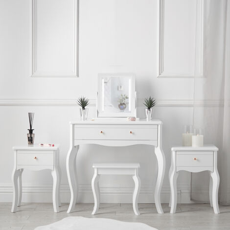 Sorrento White Vintage Set Dressing Table with Drawer LED Jewellery Cabinet Mirror Stool Two Bedsides