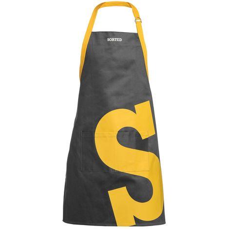 Sorted Apron,Black/Yellow Logo,100% Cotton