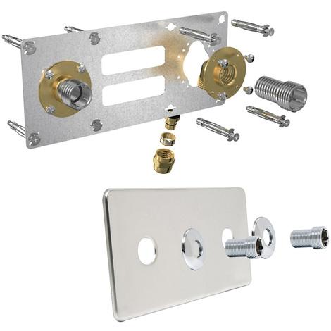 """Sortie de cloison Robifix (Douche/Bain Douche) entraxe 150mm - plaque de finition - PER Ø12 - raccord à compression Femelle 1/2"""" (15/21)"""