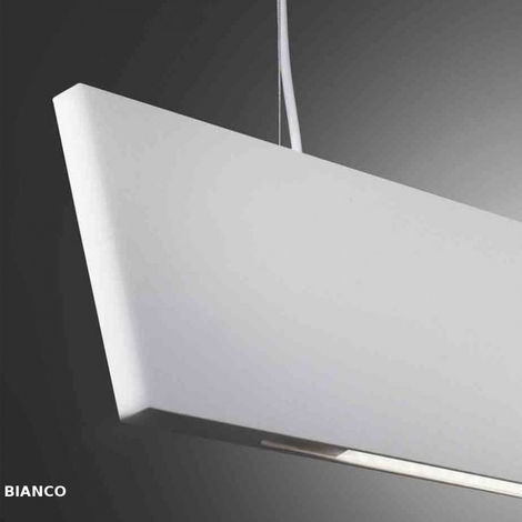 Sospensione co-katana 870 100s2 7w led 8000lm 3000°k metallo bianco sabbia nero biemissione lampadario moderno, finitura metallo bianco - CO-KATANA-870-100S2-WHITE