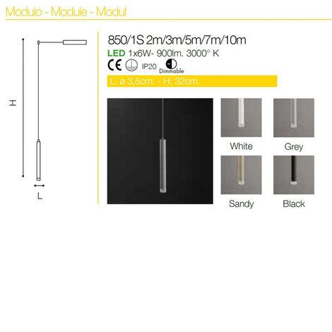 Sospensione co-line system 850 1s 6w led sabbia dimmerabile metallo bianco nero sabbia cilindro moderno, lunghezza filo 2 metri - CO-LINE SYSTEM-856-1S-SA-2m