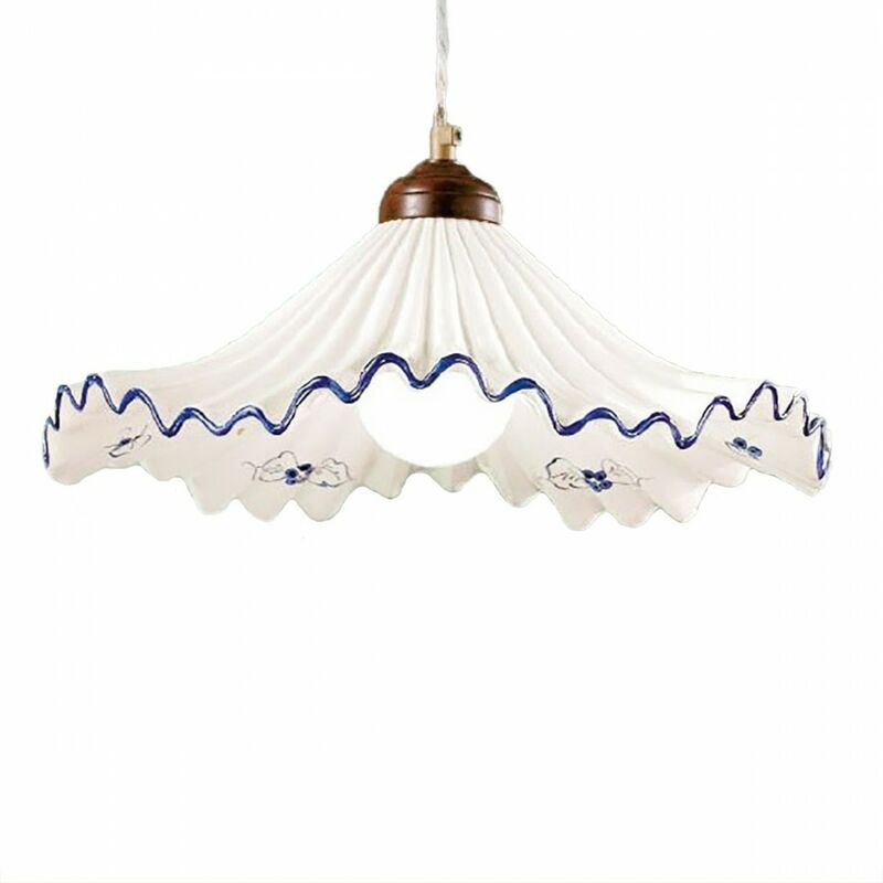 Sospensione due p anna s2m 2 luci e27 53w ceramica classica lampadario rustico interno, colore blu - DUE P ILLUMINAZIONE