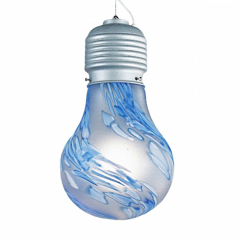 PENDENTE IN ACCIAIO BLU A SOFFITTO CROMATO PORTALAMPADA LAMPADA DESIGN MODERNO