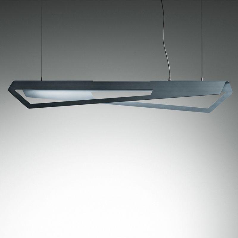 Giarnieri Light - Sospensione giarnieri tilt s 52w 5200lm 3000°k dimmerabile alluminio bianco piombo oro lampadario biemissione, finitura metallo