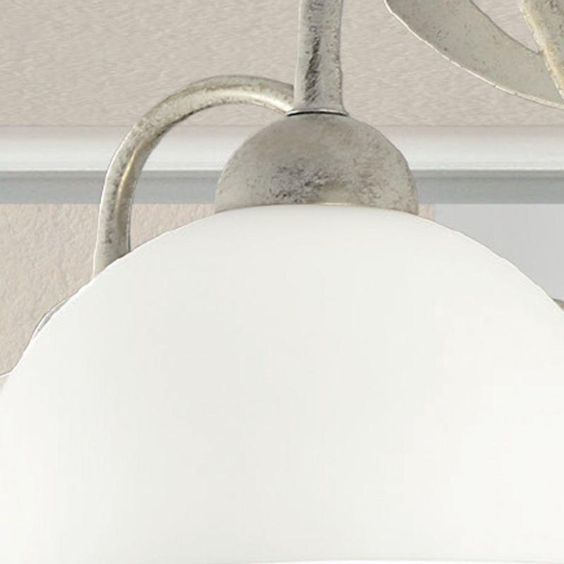 Sospensione lm-1910 e14 led lampadario classico multiluce metallo vetro interno, vetro bianco satinato, finitura metallo avorio argentato