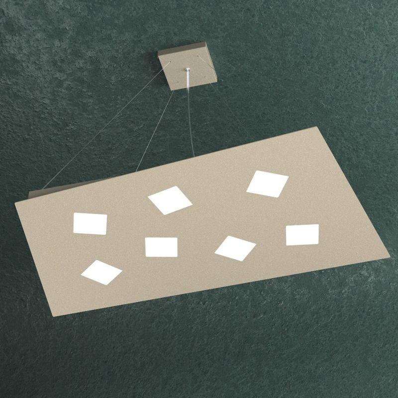 Top Light - Sospensione note 1140 s7 gx53 led monoemissione metallo bianco grigio sabbia lampadario rettangolare moderna multiluce, finitura metallo