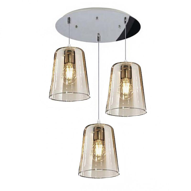Sospensione top light shaded 1164cr s3 t e27 led vetro colorato lampada soffitto moderna, colore ambra