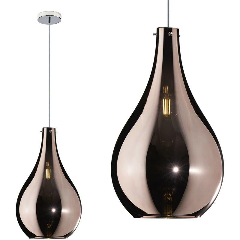 Sospensione drop 1134cr sm e14 led vetro sospensione lampada soffitto moderna, vetro rame - Top Light
