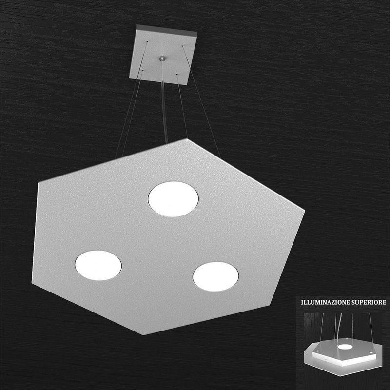 Top Light - Sospensione tp-hexagon 1142 sp+1 gx53 led metallo esagonale lampadario moderno multiluce interno, finitura metallo grigio