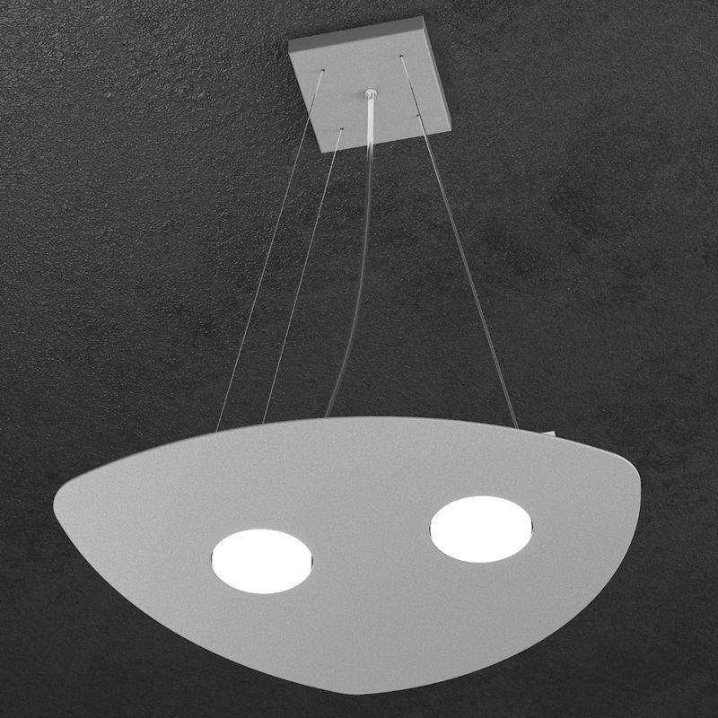 Sospensione tp-shape 1143 s2+1 gx53 led metallo bianco sabbia grigio lampadario triangolo moderno interno, finitura metallo grigio - TOP LIGHT