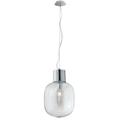 Lampadari In Vetro Soffiato.Sospensione Una Luce Metallo Cromo Paralume Vetro Soffiato Lampadario Moderno E27 Ambiente I Fellini S30