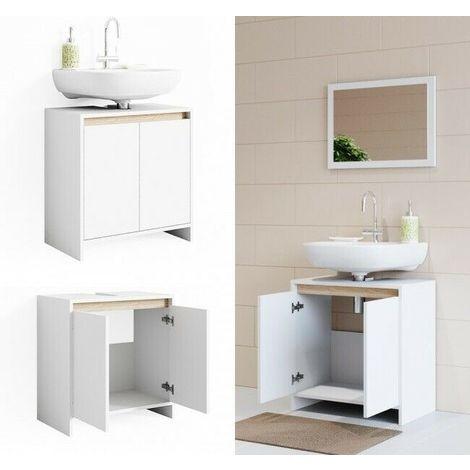 Sotto lavabo copricolonna moderno mobile lavello bagno bianco e ...