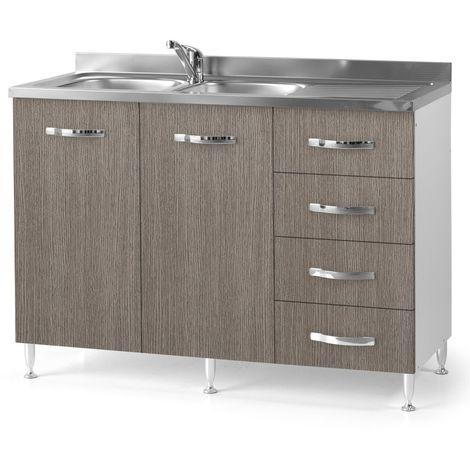 Sottolavello da cucina con cassettiera DX larice grigio Cm 120x50xH ...