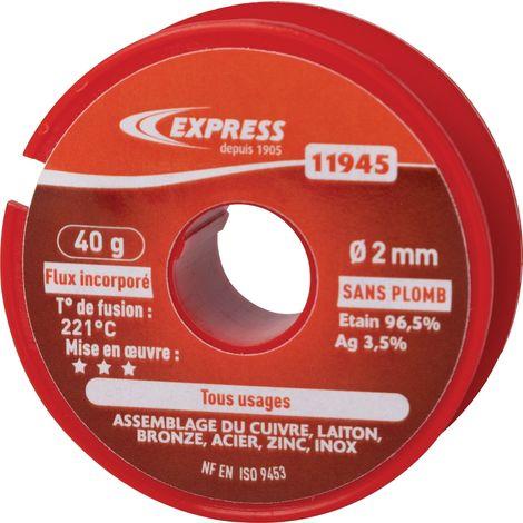 Soudure étain bobine Express - Tout usage - 40 g - Gris
