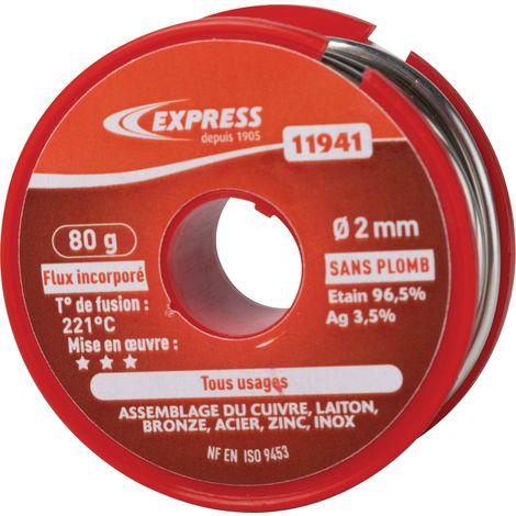 Soudure étain bobine Express - Tout usage - 80 g - Gris