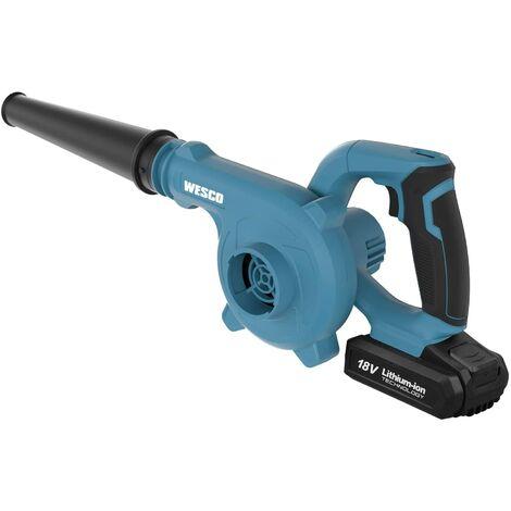 Souffleur à Batterie, WESCO 18V 2.0Ah Souffleur Portable Sans Fil, vitesse 110MPH, tuyau démontable, pour Nettoyer la Maison, le Jardin, le Garage et la Voiture/WS2942.1