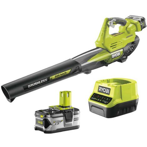 Souffleur RYOBI 18V One Plus Turbo Jet Brushless - 1 batterie 4,0Ah - 1 chargeur rapide - RY18BLXA-140